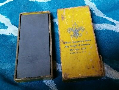 Vintage Official Boy Scout Sharpening Stone in Box Cub Scouting Memorabilia