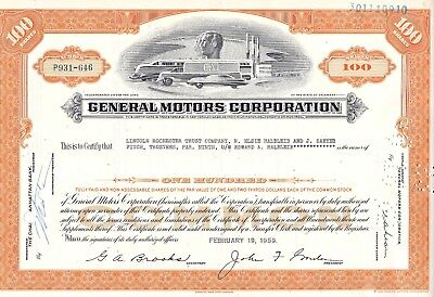 1959 General Motors Corporation Stock Certificate Uncirculated Unc Mint GM GMC