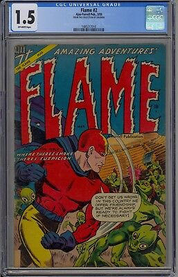 Golden Age The Flame #2  1 Of Only 3 Ever Graded By Cgc 1.5