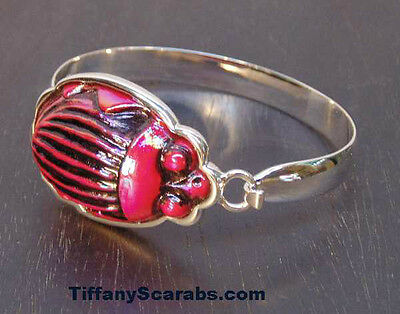 Antique Red Tiffany Favrile Art Glass Scarab Sterling Silver Bracelet Cuff