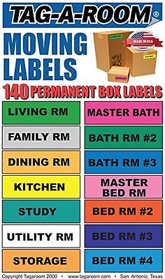 Tag-A-Room Moving Labels - 140 Count Color Coded Moving Stickers Labels NIP