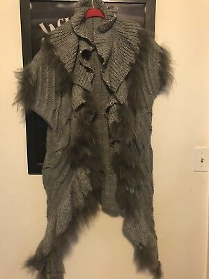 Dolce Cabo Sweater Vest With Fur Accents size XL