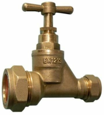25mm MDPE to 15mm Copper Brass Stopcock - PACK OF 5