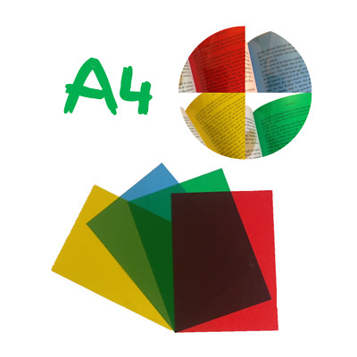 A4 Coloured Overlays -Visual Stress Dyslexia Reading Aid Acetate Sheets Red,Blue