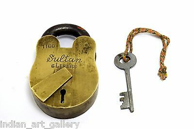 Antique Indian High Quality Collectible Heavy Duty Brass Padlock. G2-143