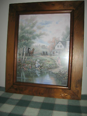"Antique Folk Art Frame Carved w Hearts Tulips Carl Valente ""A New Day"" 17.5x22"""