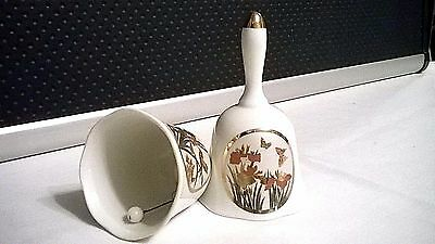 Vintage Japan Bell Butterflies Lilie Gold Trim Porcelain Handcrafted in