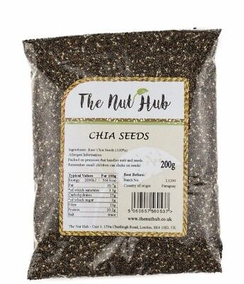 RAW CHIA SEEDS NATURAL DARK SUPERFOOD FOR DIET AND SMOOTHIES 100g 200g 500g 1KG