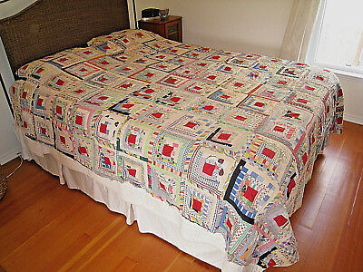 Antique New England Log Cabin Quilt Top