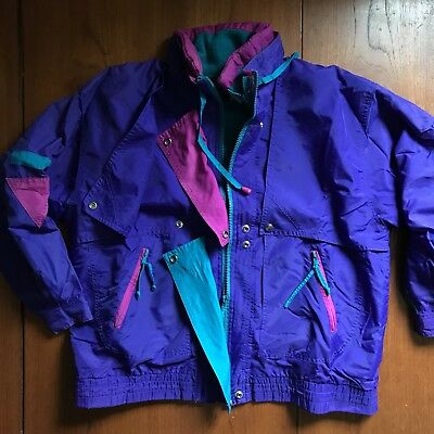 Vintage 80s Ski Snow Jacket Windbreaker Warm Winter Purple Pink Teal M *Flawed*