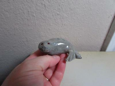 Harp Seal, Solid stone Hand carved from the Andes of Peru, Multi Colored Seal