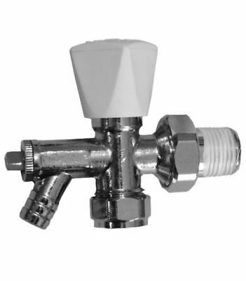 8mm Angled Radiator Valve With Draw Off - Crestalux - PACK OF 5