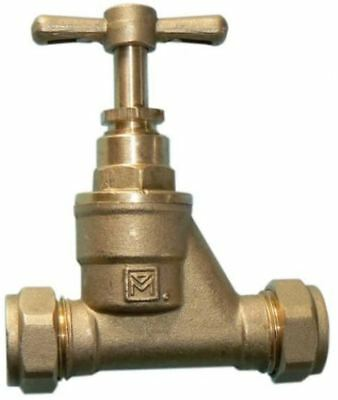 15mm Brass Stopcock - Compression - PACK OF 2