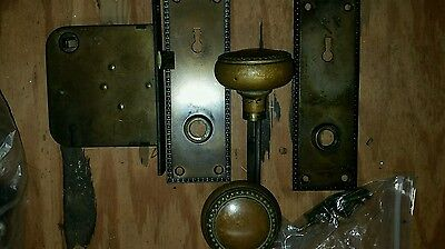 Set of 3  brass knobs, face plates and hardware circa 1800