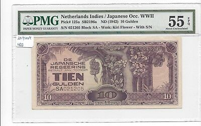 NETHERLANDS East Indies nd (1942) Pick 125a SA021205  PMG 55EPQ ABOUT UNC