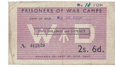 Great Britain War Department 2 Shillings 5 Pence POW Camp 78 July 1947!  F-VF R