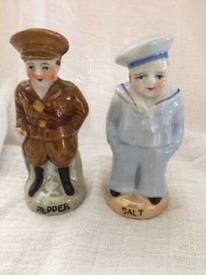 Vintage Ww1 Soldier Pepper Shaker & Sailer Salt Shaker