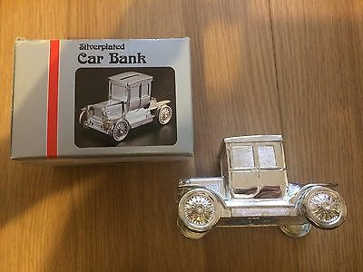 Silver-plated Car Model T Coup Money Box Collectable Bank Vintage 1991 Baby gift