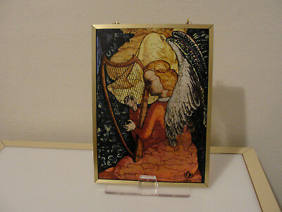 Glassmasters 1989 The Angel Musician panel stained glass Unicef edition Lochner
