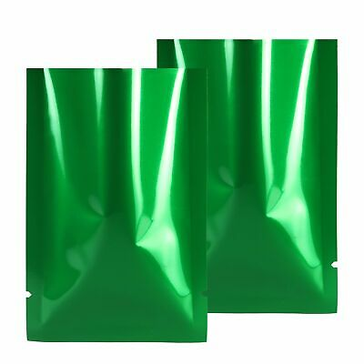 "100 Glossy Green Aluminum Foil Open Top Bags w/ Tear Notches 8x12cm (3x4.75"")"