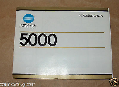 Film SLR Camera Minolta 5000 AF User Manual / Instruction booklet