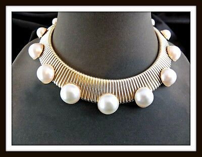 Vintage R J GRAZIANO Gold-tone & Faux Pearl Runway Necklace #2915