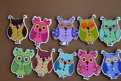 10 Quirky Owl Buttons Wood Scrapbooking Embellishment Card Making Quilt Cute