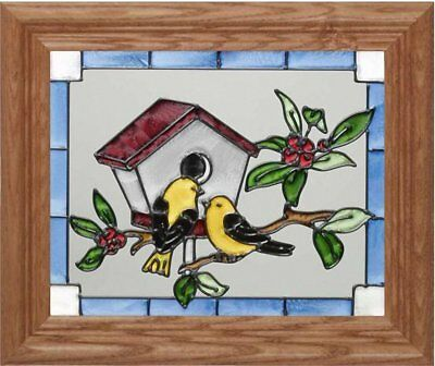 Goldfinches Horizontal Art Glass Panel with Wooden Frame 10 x 12
