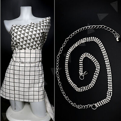 Ladies Silver 3Row Metal Crystal Rhinestone Waist Chain Bling Charm Long Belt