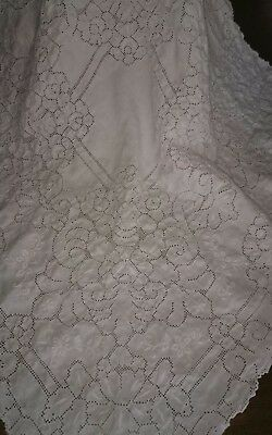 Vintage Whitework Embroidered and Needle Lace Suppercloth