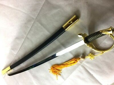 Ceremonial Military Saber Mirror Polished Officer Sword Black & Gold