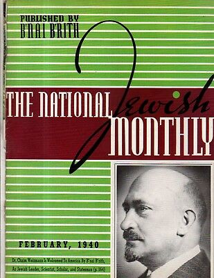 1940 National Jewish Monthly February - Weizmann comes to U.S.; Lincoln's doctor