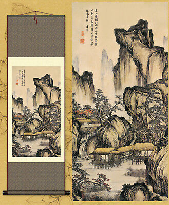 "Wall decoration Hang a picture Artwork Landscape painting Silk painting""唐寅山水图"""