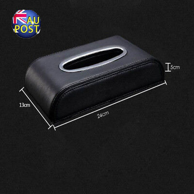 PU Black leather Car Tissue Napkin Box Cover Papers Holder Home Office Bar MN