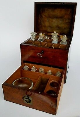 JOHN MOORE ANTIQUE EARLY 19th CENTURY GEORGIAN ENGLISH APOTHECARY CHEST BOX