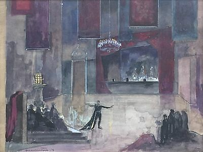 ROBERTO MONTENEGRO Mexican Artist Original Signed Vintage Painting 1959 LISTED