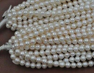 AA+++ Wholesale 8mm near round white 100% real pearl strands Free shipping