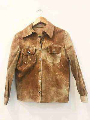 Amazing Brown Distressed Leather Size 14 Boy's Vintage Jacket