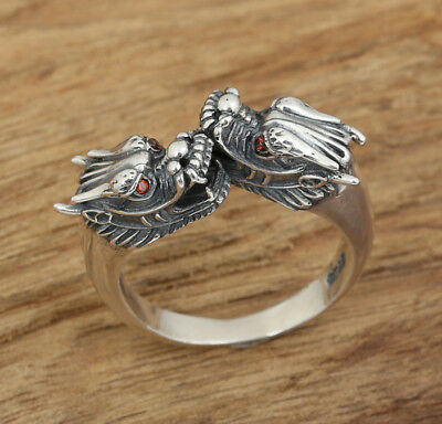 925 Sterling Silver Retro dragon rings ring Jewelry Adjustable size  P176