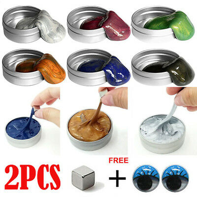 2 PACK Glitter Hand Putty Slime Play Dough Magnetic Rubber Mud Plasticine Gifts