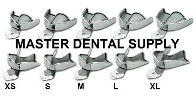 Dental Impression Trays METAL STAINLESS STEEL SOLID 10 Pcs AUTOCLAVABLE