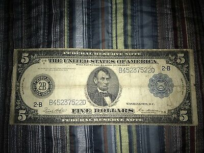 1914 $5 Five Dollar Large Bill Federal Reserve Note No Reserve