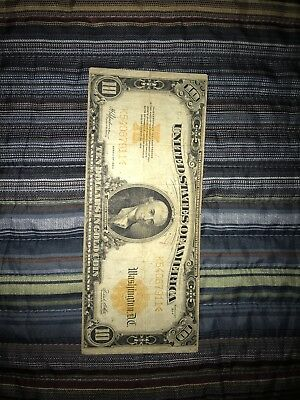 Series Of 1922 $10 Gold Certificate Large Note - Ten Dollar Gold Coin Bill