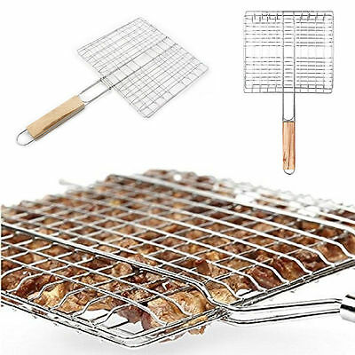 Barbecue Grilling Basket Grill BBQ Net Wooden Handle Meat Fish Vegetable Tool