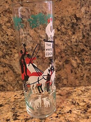 Vintage Libbey Rock STONE The Arrival Stage Coach The White Cock Glass