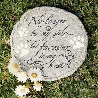 """Pet Cat or Dog Memorial Garden Marker Grave Stone """"No longer by my side.."""""""