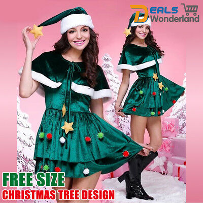 PLUS Size 22 AU Ladies Christmas Xmas Elf Santas Helper Fancy Dress Costume 12