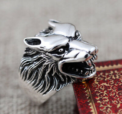 925 Sterling Silver men's Retro Biker wolf  ring rings jewelry US SIZE 8-11 P376