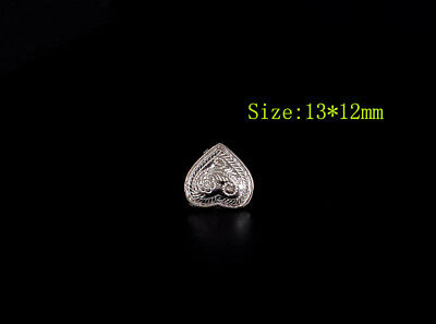 20pc 13*12mm Bling Sliver Floral Heart LeatherCraft Bracelt Belt Decor Conchos