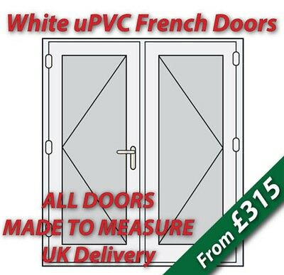 White uPVC French Doors - Made to Measure - White handles, GOLD spacer bars #02
